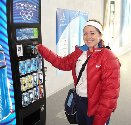 Athlete Using a Cashless Vending Machine